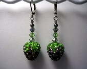 Strawberry Earrings Swarovski Crysal and Rhinestone Pave  Gunmetal Black Diamond Crystal Peridot Leverback Hooks Wire Wrapped Fruit Earrings