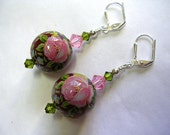 Hand Painted 16mm Glass Japanese Tensha Bead Earrings Rose Pink Swarovski Crystal Leverback Hooks Wire Wrapped Silver Dangle Gifts under 5