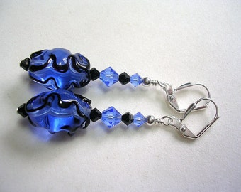 Blue Earrings Sapphire Lampwork and Swarovski Crystals in Silver Handmade Lampwork Leverback Hooks Wire Wrapped