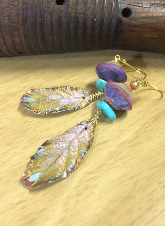 Lampwork Earrings artist Lampwork and leaves gold-filled