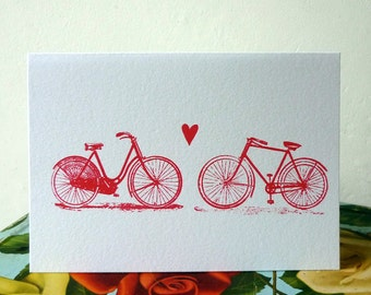 Bicycle Love screenprinted valentine's card