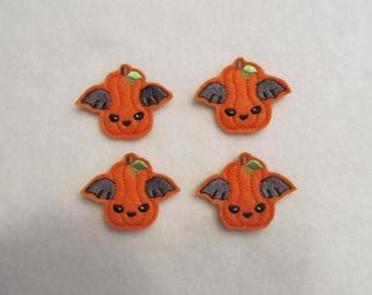 4 Felt BAT PUMPKIN Applique Embellishments Style GS