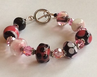 Lampwork Bracelet Pink Black White Sterling Silver Unique Easter  Gift Hand Made Glass Beads