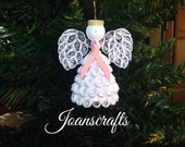 Quilled Breast Cancer Awareness Angel Ornament