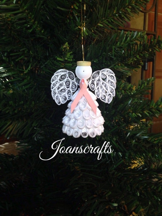 Quilled Cancer Awareness Angel Ornament