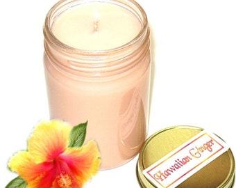Hawaiian Ginger Mason Jar Candle Tropical Spicy Floral and Fruit Scent 12 Oz Handmade