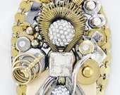 RESERVED FOR Iuli - Half Off Sale Hand Mirror - Geometricks - Upcycled Jewelry - M001054