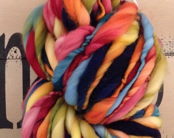 Apple Picking   Dyed and Hand Spun Bulky Thick & Thin Yarn blanket baby hat leg warmers photo prop