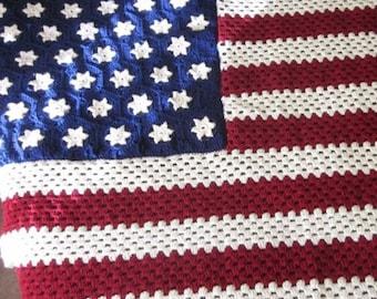 American Flag Crocheted Afghan\/Blanket\/Throw