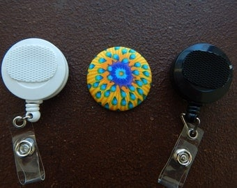 Fabric Covered Button for Clip on Retractable Badge Reel - Flower
