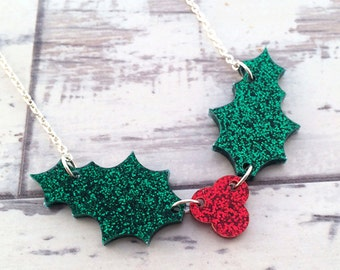 Christmas Necklace Glitter Necklace Christmas Jewelry Holiday Necklace Christmas Gift Holiday Jewelry Winter Necklace Holly Necklace