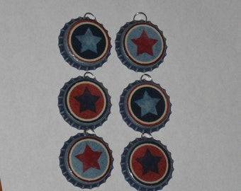 Set of 6 Primitive Rustic Distressed Blue Bottle Cap Charms Americana Red White Blue Patriotic July 4 Star Mini Tree Ornaments Party Favors