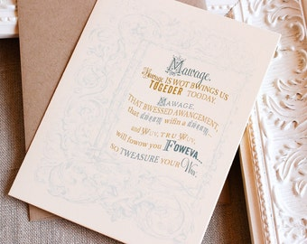 Handmade Single Greeting Card Princess Bride Wedding A2 Blue or Pink and Gold Kraft Envelope Wuv, True Wuv