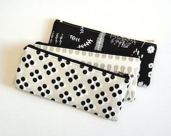 Long Zipper Pouch, Pencil Pouch, Back To School, Gift For Her, Purse Organizer, Black and White Cotton and Steel