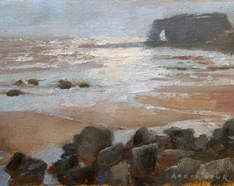 Red Rock at Low Tide, landscape oil painting, direct from artist