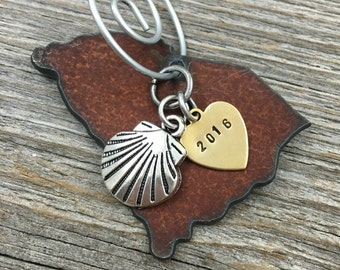 SOUTH CAROLINA | Rustic 2016 Christmas Ornament | Sea Shell, Cowboy Boot or Hat Charms, Handstamped Brass Tag