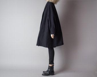 chrysalis black embroidered trapeze wool coat / minimalist swing coat / vtg 80s coat / m / l / 898o
