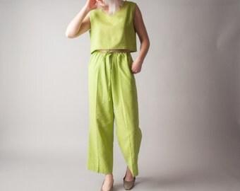 east of shanghai three piece crop top pants set / matching set / m / 1328t