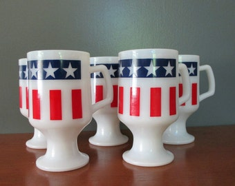 Patriotic Milkglass Footed Cups Mugs Vintage Americana cups milk glass