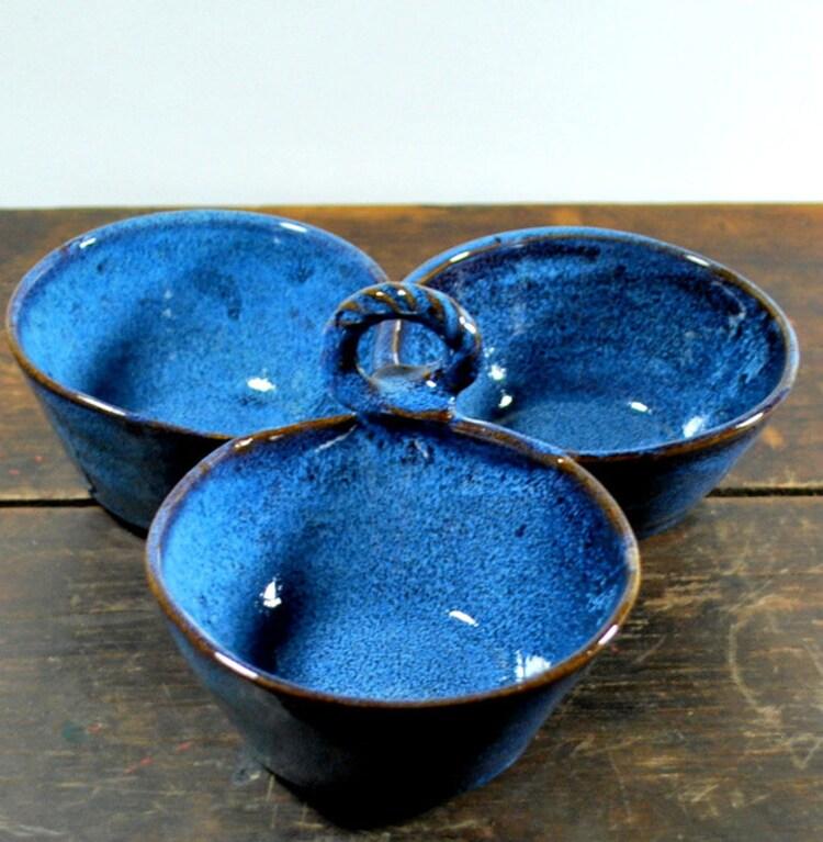 Three Bowl Cobalt Blue Condiment Server By Donnakellerpottery