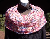 Pastel Rainbow Handmade Knitted Capelet Optim Merino Wool Uber Soft and Luxurious Purple Blue Coral Pink
