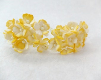 20 15mm two tones yellow mulberry paper hydrangea - paper flower - 1.5 cm paper flower