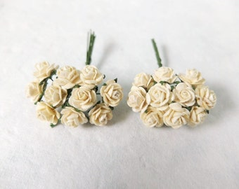 20 10mm mulberry ivory roses -ivory paper flowers