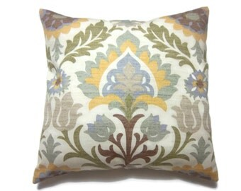 Decorative Pillow Cover Ikat Design Green Gold  Natural Blue Same Fabric Front/Back Toss Throw Accent 18x18 inch x