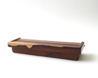SUMMER SALE Modernist Handmade Wood Box  Hinged  Jewelry  Trinket Mid Century Modern