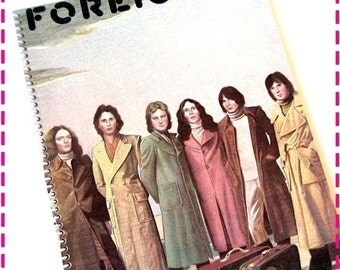 SALE 40% OFF--- FOREIGNER'S self-titled Foreigner Recycled / Upcycled Retro Record Album Cover Journal Notebook - Eco Friendly - Vintage Cir