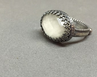 clear faceted vintage glass filigree fancy cocktail ring dainty simple feminine metalwork art jewelry