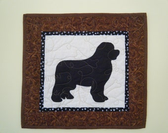 SALE--- Newfoundland Newfie- Quilted Mini Dog Wall Hanging 16 x 15