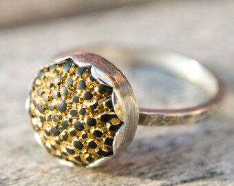 Last one gold and black vintage button sterling silver ring, size 6 only