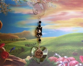 Adorable Dog Suncatcher with Large Beautiful Austrian 40mm Crystal Heart, Fur Baby Charm, Handmade Hanger,  Unique Gift, Car Mirror Ornament