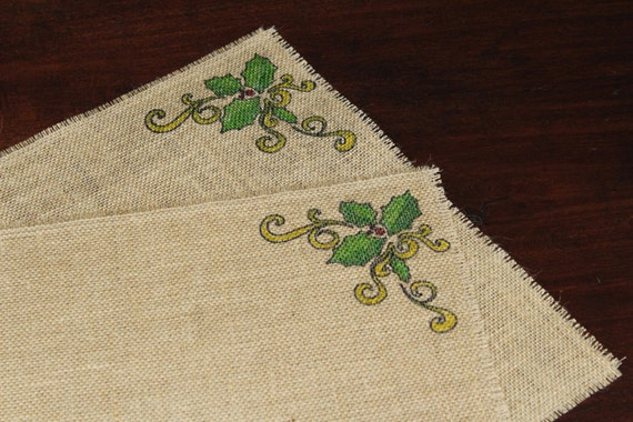 Christmas Holly burlap placemats