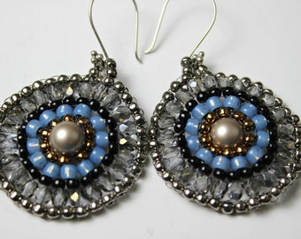 Beaded Pearl Earrings  with Bronze, Silver, Blue and Gray Crystals and Beads