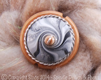 The Clay Sheep Drop Spindle - LIMITED EDITION - Grey Swirl Top Whorl Drop Spindle - Small .94 oz