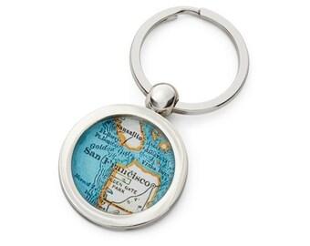 San Francisco Map Key Ring Fob Chain