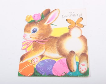 Vintage Bunny Jumping Over Easter Eggs Vintage Greeting Card ~ The Pink Room ~ 160921