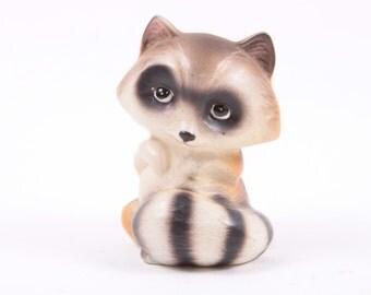 Vintage Ceramic Raccoon Enesco Small Critter Creature 1970s