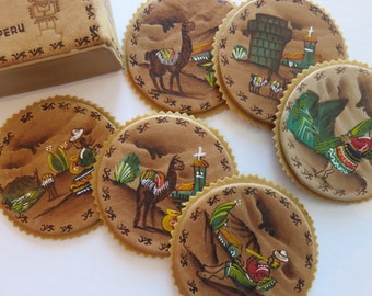 SJK Vintage --  Hand Tooled and Painted Leather Coasters from Peru, Alpaca, Folk, Souvenir (1960's-70's)