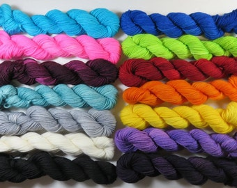 Hand Dyed Superwash Merino and Nylon 4-Ply Sock Yarn -- Full Size Skeins (100g/463yards) -- Semi Solid Colorways