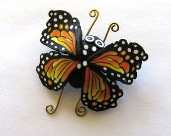 Monarch Butterfly Brooch, Polymer Clay Bug Pin, Whimsical Handmade Jewelry
