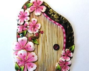 Cherry Blossom Fairy Door, Sakura Pixie Portal, Polymer Clay Miniature for Fairy Garden or Home
