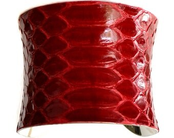 Glossy Red Snakeskin Silver Cuff Bracelet - by UNEARTHED