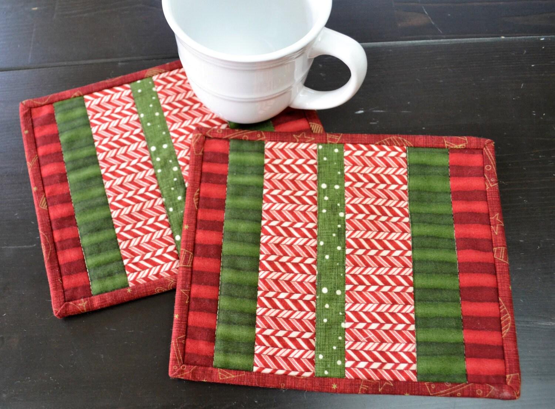 Handmade set of quilted mug rug christmas holiday