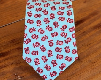 Mens blue red floral necktie, men's flower cotton tie, mens wedding necktie, groomsmen necktie, mens necktie, fathers day gift, spring gift