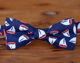 Mens Navy Sailboat bow tie, men's nautical blue cotton bowtie, mens sailboat bow tie, sailor bow tie, boyfriend gift, nautical wedding tie