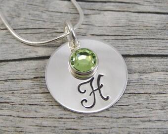 Hand Stamped Jewelry - Personalized Jewelry - Initial Necklace - Sterling Silver Necklace - One Swarovski Birthstone