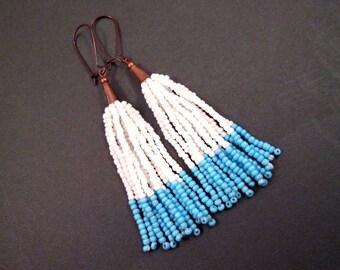 Tassel Earrings, White and Blue Glass Seed Beaded Fringe Earrings, Copper Dangle Earrings, FREE Shipping U.S.